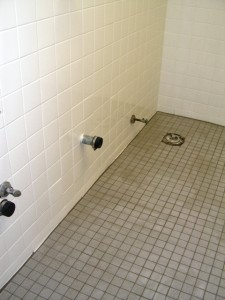 Commercial bathrooms floor and walls